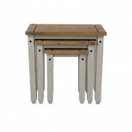 Corona Grey Wash Solid Pine Nest of tables