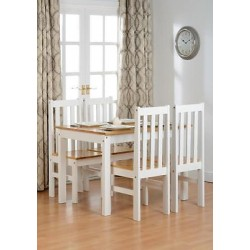 Ludlow White Solid Wood Oak Finish Effect 4 Chairs Dining Table
