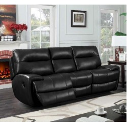 Bailey Recliner Leather Gel & PU 3 Seater Black