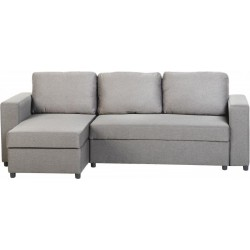 Corner Sofa Bed in Light Grey Fabric