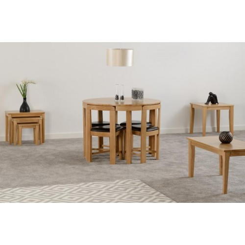 Windsor Stowaway Dining Set in Oak Varnish Brown Faux Leather Seat Pads