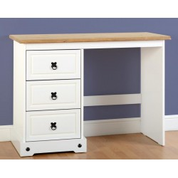 Corona 3 Drawer Dressing Table in White Distressed Waxed Pine