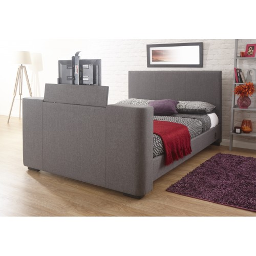 "Electric TV Bed King size in Grey Fabric Fits Upto 32"" TV"